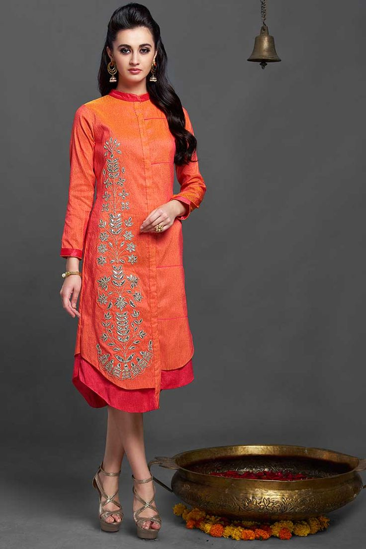 Designer party wear Orange tunic or kurti