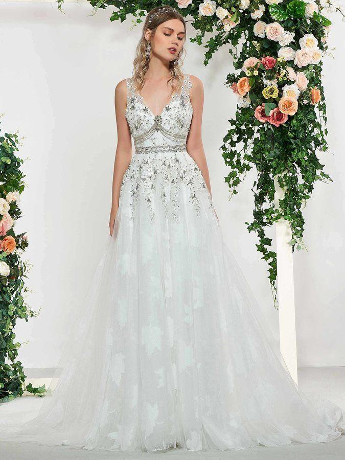 Beading V Neck Liques Wedding Dress