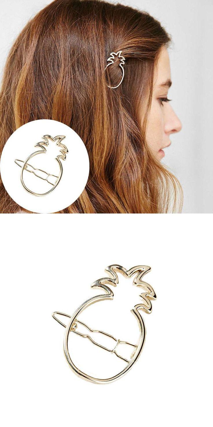 Fashion Ladies Pineapple Hollow Out Headdress Hairpin Hair Clip Gold/Silver Hari Accessories Head Ornaments