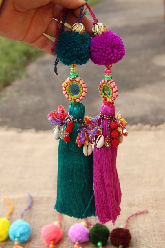 Large Luxe Tassel Pom Pom Charms Summer Colors by WomanShopsWorld (Boho Top India)