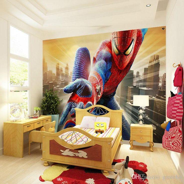 Custom Marvel Hero Wall Mural Spiderman Kids Boys Children Photo Wallpaper Silk Wallpaper Home decoration Art Room decor Bedroom Hallway
