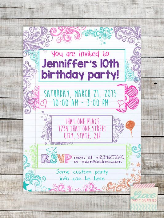 Teen Tween Doodle Printable Invitation by LuxePartySupply on Etsy