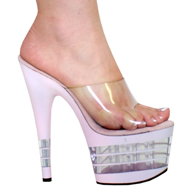 """6"""" or 7"""" Karo's Clear Slide Mule Shoes with a Pink L.A. Style High Heel Platform - Sizes 5-14 #0914 