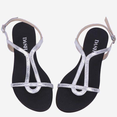 Sandale argintii din piele naturala Brady
