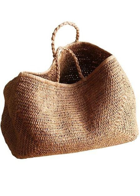Bags Provence Basket NORO 50% raffia 50% cotton Color tea