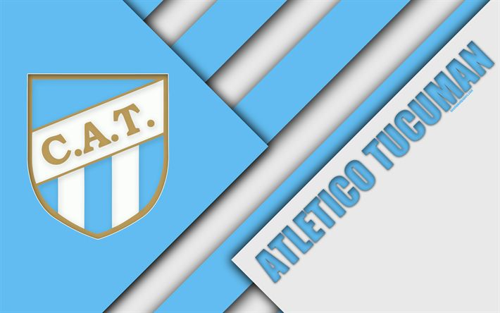 Download wallpapers Club Atletico Tucuman, Argentine football club, 4k, material design, blue white abstraction, San Miguel de Tucuman, Argentina, football, Argentine Superleague, First Division