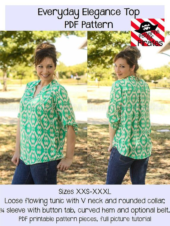 Everyday Elegance Top Tunic Sewing PDF Pattern by Patterns for Pirates Sizes XXS-XXXL Woven, Knit, Shirt, Stylish, Modern, Trendy