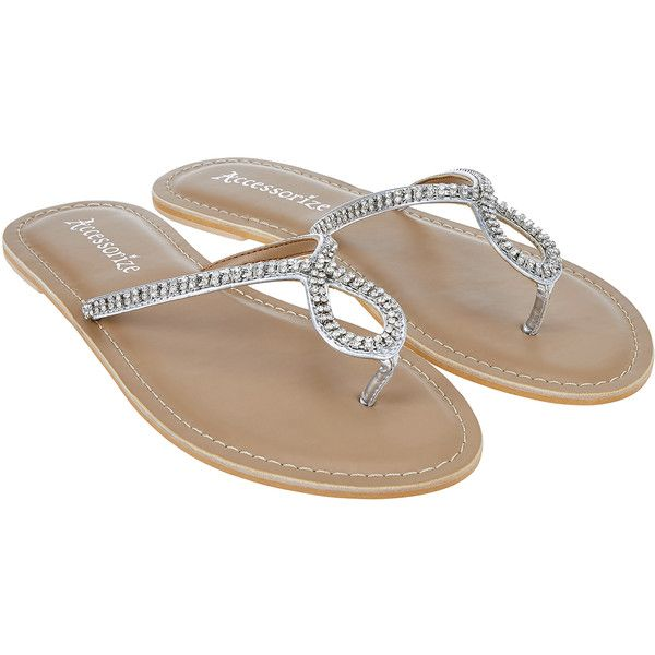 Accessorize Lily Diamante Flip Flops ($37) ❤ liked on Polyvore featuring shoes, sandals, flip flops, strappy flip flops, beach flip flops, sparkly shoes, toe-loop sandals and beach shoes
