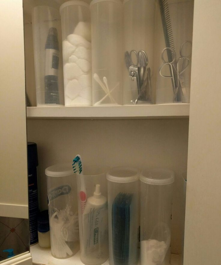Crystal light Containers for medicine cabinet storage. Use them for cotton, Q-tips, tooth brushes, etc.