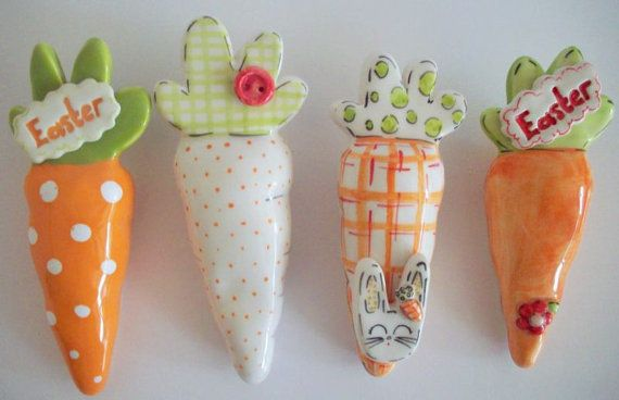 Hand made ceramic carrots. by eudoxiahandmade on Etsy, €8.24