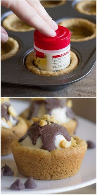 Use a muffin tin and small spice container to shape cookie dough into cookie sundae bowls. | Look At These 19 Edible Food Bowls Instead Of Doing The Dishes