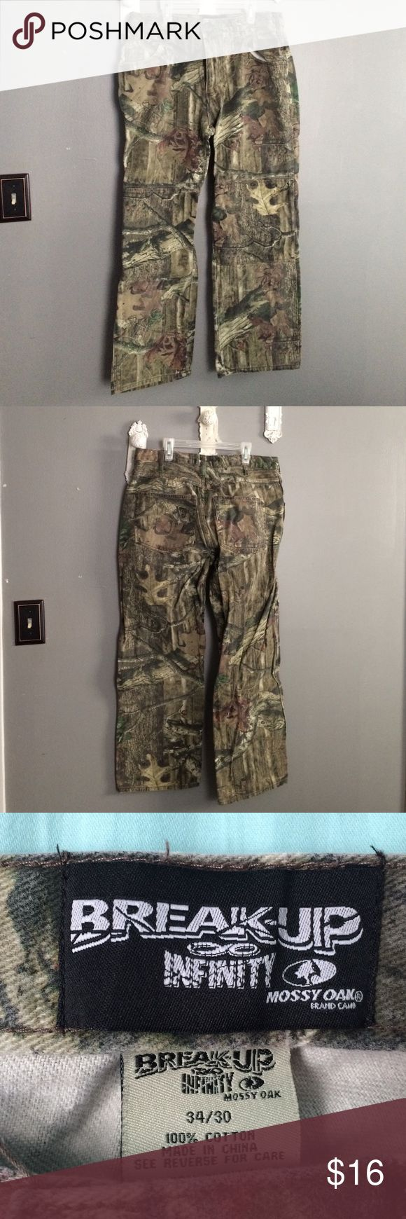 Camouflage Break-Up Pants These are gently used Break-Up Infinity Mossy Oak 34x30 pants. Comes from a smoke free home. Jeans Bootcut