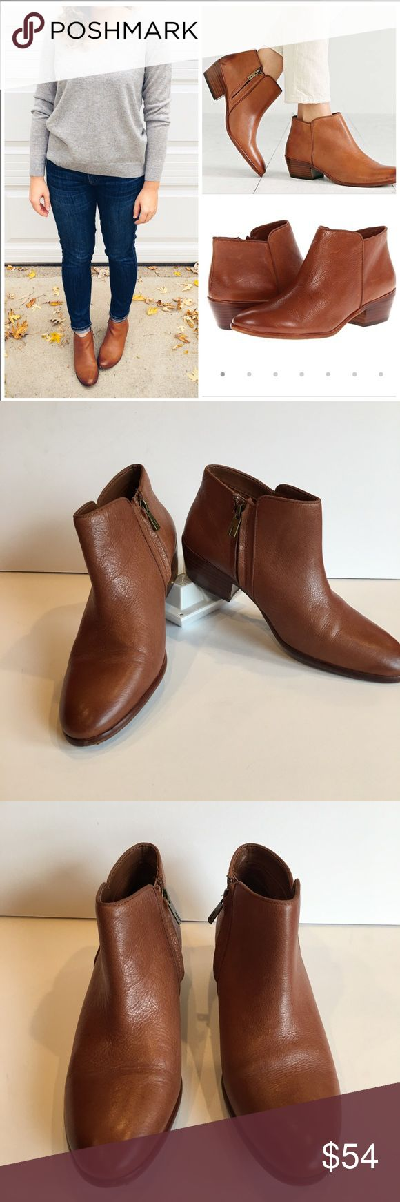 Sam Edelman Petty Saddle Ankle Boots Booties Sam Edelman Petty Ankle Boots Booties Size: 10 Material: Smooth leather and man made Condition: Some minimal wear as depicted on sole and outer, small nick in back of right heel- may be reparable Measurements: Heel height: 1.75 in, boot shaft 3.25 in Color: Saddle which is a rich cognac tan Features: inside zip closure, low stacked heel  These shoes are so comfortable and go with everything. Would look great with every style from a sun dress to…
