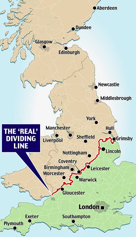 The Border Between the 'Two Englands'. In Great Britain as in the US, two cultural sub-nations identify themselves (and the other) as North and South. There is a place used as shorthand for describing the divide, with the rougher, poorer North and wealthier, middle-to-upper-class South referring to each other as 'on the other side of the Watford Gap'.