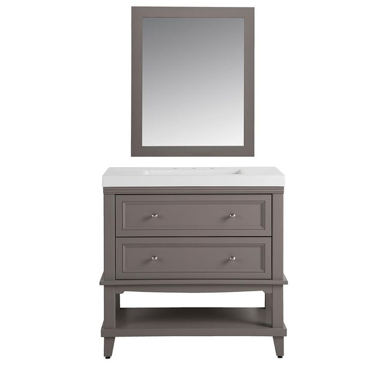 Home Decorators Collection Teasian in 36 in. W Vanity in Taupe Gray with Cultured Marble Vanity Top in White with White Basin and Mirror