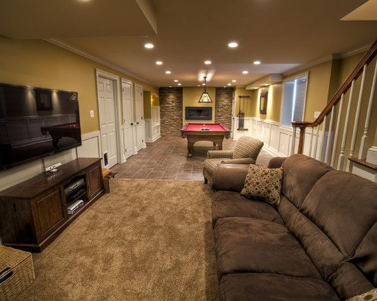 Basement design ideas for long narrow living rooms design Basement room decorating ideas