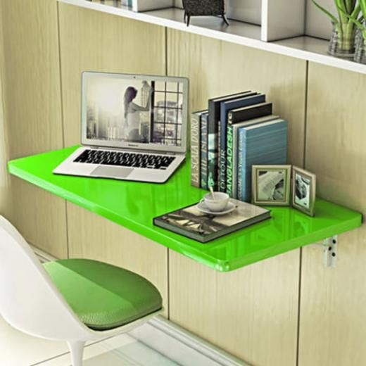 Green Wall Mount Floating Folding Computer Desk Home Office Pc Table Excellent Green(绿色)