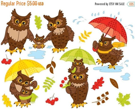 70% OFF SALE Autumn Owls Clipart - Digital Vector Owls ...