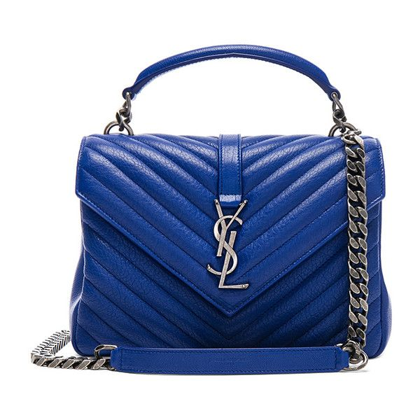 Saint Laurent Medium Monogramme College Bag ($2,460) ❤ liked on Polyvore featuring bags, handbags, quilted chain strap purse, chain strap purse, blue purse, man bag and quilted handbags