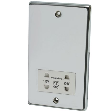 Dual voltage shaver socket chrome