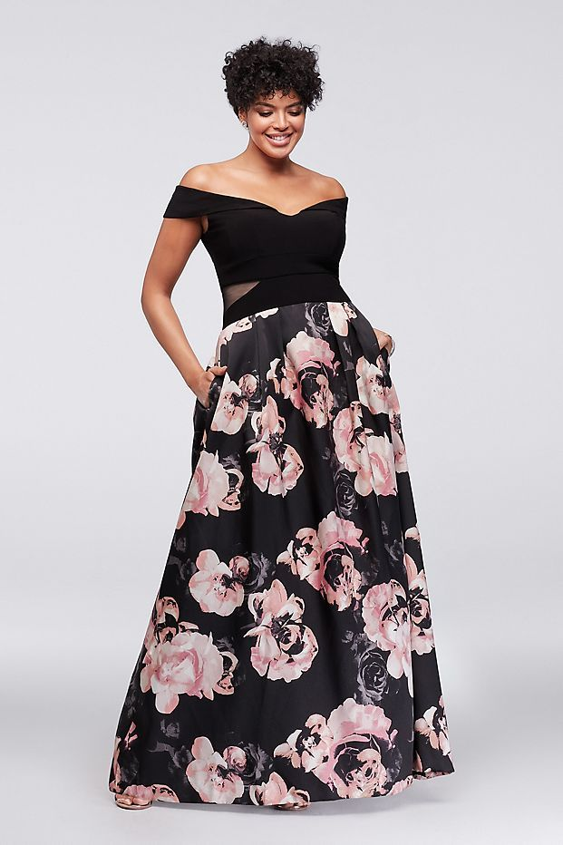 392486463ff5 Off-the-Shoulder Floral Plus Size Ball Gown Style 1173XW