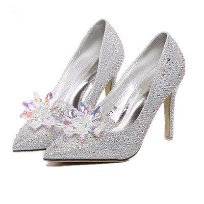 European Fashion Pointed toe Elegant Silver Womens Pumps