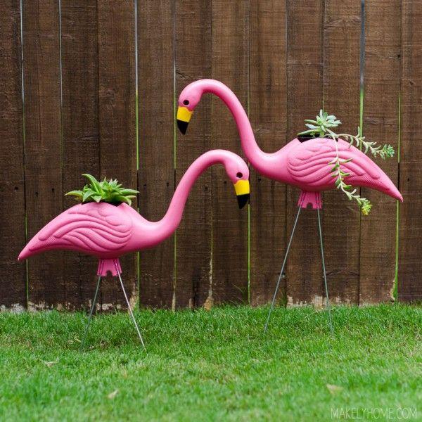Diy Plastic Pink Flamingo Planters Decoraciones Flamingos Garden