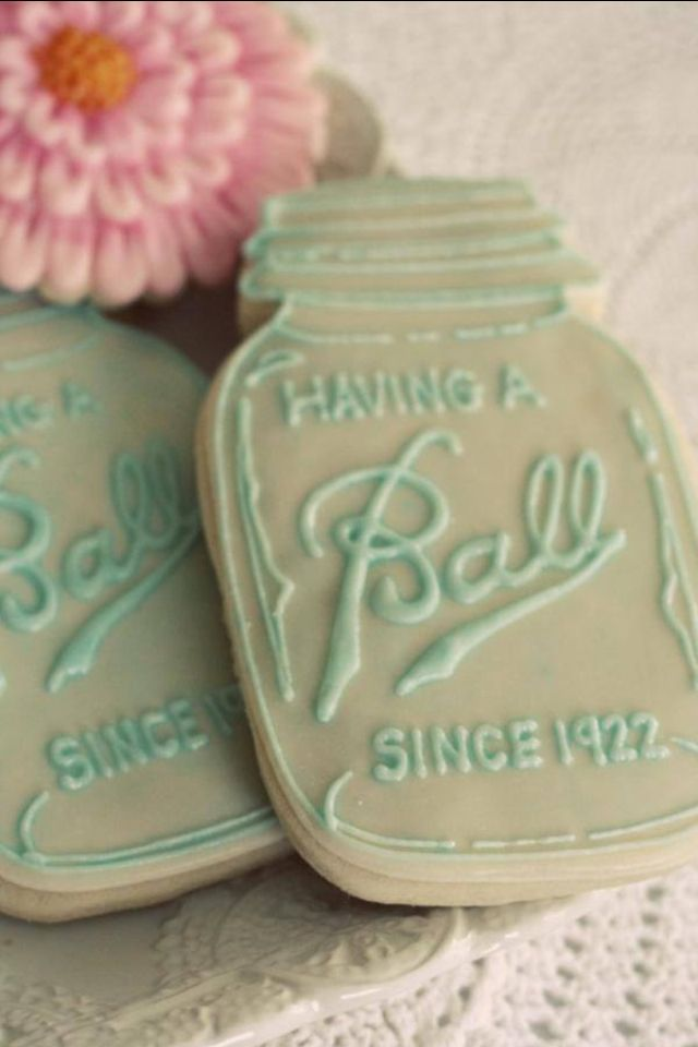 """Oh my GOSH, these are so stinking cute and clever! """"Having a BALL since 19xx"""", mason jar cookie design Anniversary party cookies. #anniversaryparty #birthdayparty"""