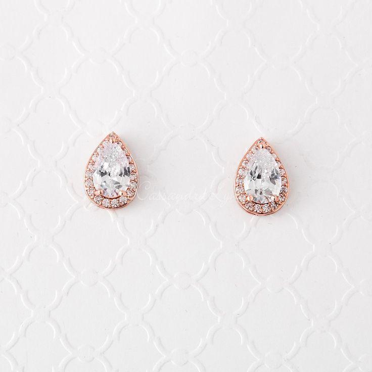 Teardrop Cubic Zirconia Earrings Rose Gold