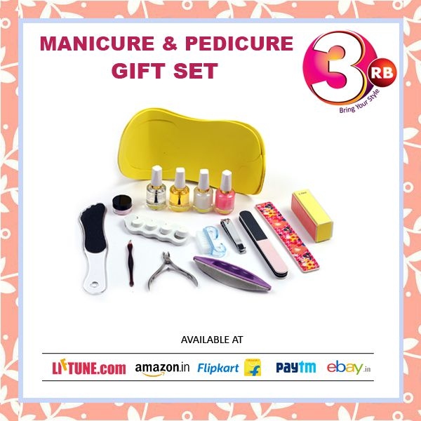 Regular manicure and pedicure enhance the health of our nails along with promoting their faster growth and maintaining well nourished and moisturized cuticles.#BufferBlock (RandomColor) #BaseCoat #TopCoat #OilCoat #CuticleNippers #NailBrush #NailCutter #ToeSeparators(Random Color) #Nail Filer #Foot Filer #DeadSkinFork#NailBufferBrush #PedicureSlipper #BuffingCream #SandingFile