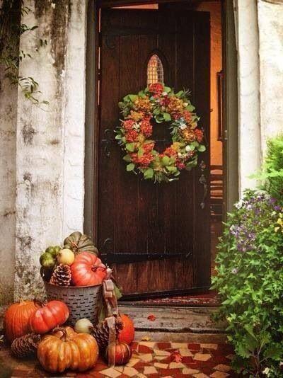 front entrance autumn decor