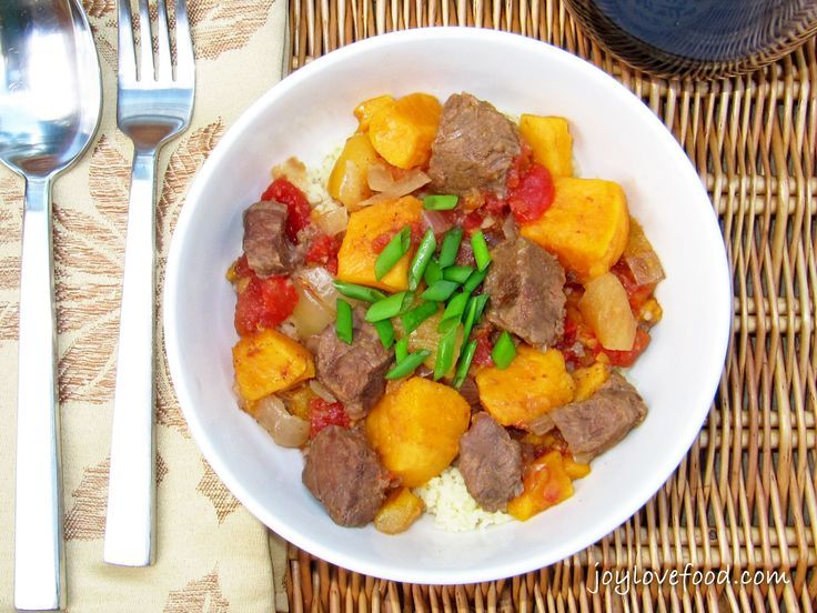 Slow Cooker Beef & Sweet Potato Tagine - Joy Love Food - The warm scents of cinnamon and cumin will transport you to Morocco as this Beef and Sweet Potato Tagine simmers away in your slow cooker.