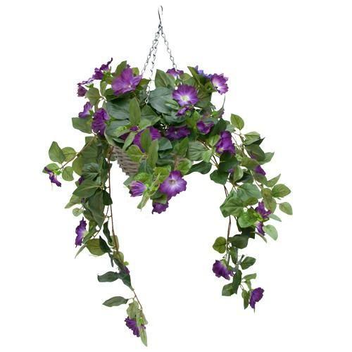 Artificial Hanging Baskets - Purple Petunia Basket