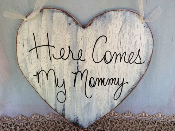 Here Comes My Mommy Heart Wedding Sign by  SassySouthernCharm, $20.00