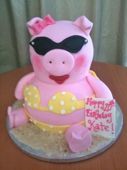Fondant covered pig cake