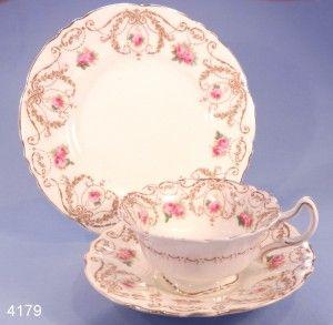 Royal Doulton Antique Art Nouveau Pink Roses Tea Cup, Saucer and Tea Plate Trio