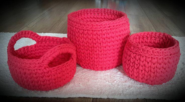 Three Crochet Baskets by DSahver on Etsy