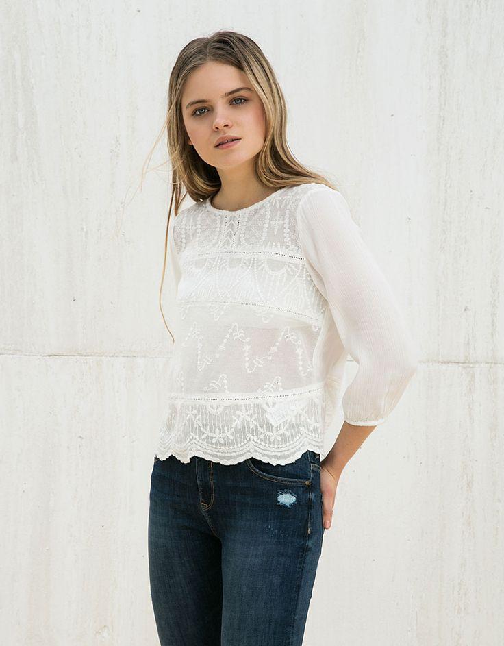 BSK lace blouse - Shirts & Blouses - Bershka Bosnia and Herzegovina 160 hrk