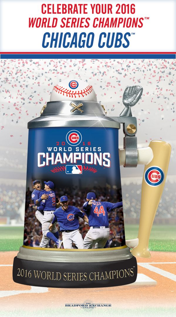 "Raise a toast to your 2016 World Series Champions, the Chicago Cubs! This commemorative porcelain stein showcases exciting game images, a ""bat"" handle, a ""ball"" topper and is loaded with iconic Cubs logos and colors. Offered in a strict limited edition of 10,800, to honor the Cubs breaking of the 108-year World Series streak."
