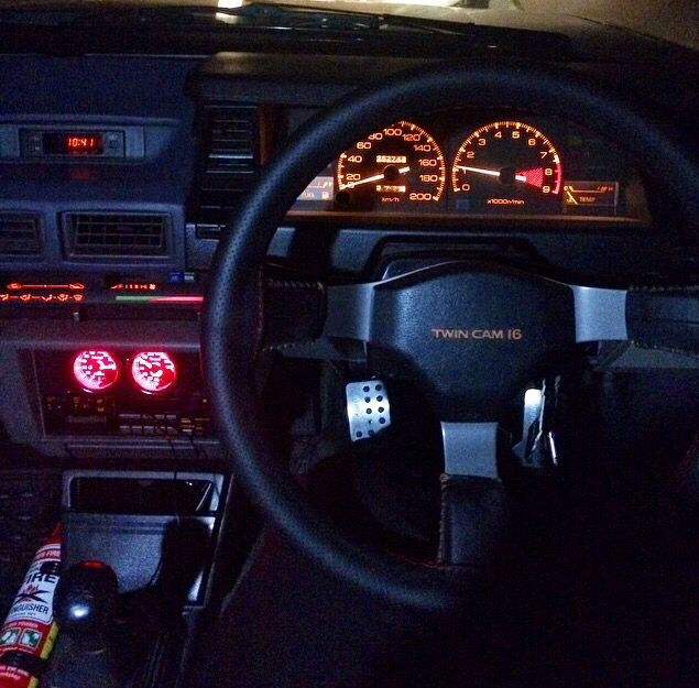 The inside of my AE82 Corolla Twincam 4AGE