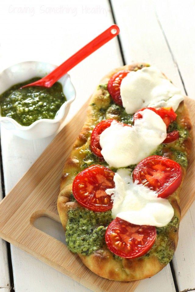 Pesto Tomato Flatbread Pizza recipe | Craving Something Healthy
