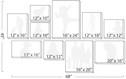 Canvas wall display 10 pc 68x45 2 12x10 2 12x12 1 for Canvas print arrangement ideas