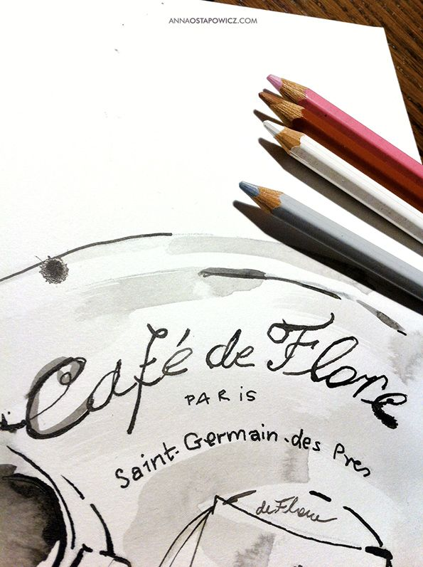 Cafe de Flore, illustration, Anna Ostapowicz, #watercolour, #drawing, #paris, #lifestyle, #coffe, #inkdrawing, #illustration, #place, #parisian, #breakfast, #bookillustration