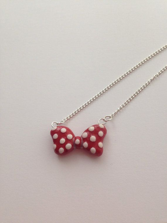 Minnie Mouse Inspired Red Bow Necklace Polymer by CharminglyKitsch, £5.99