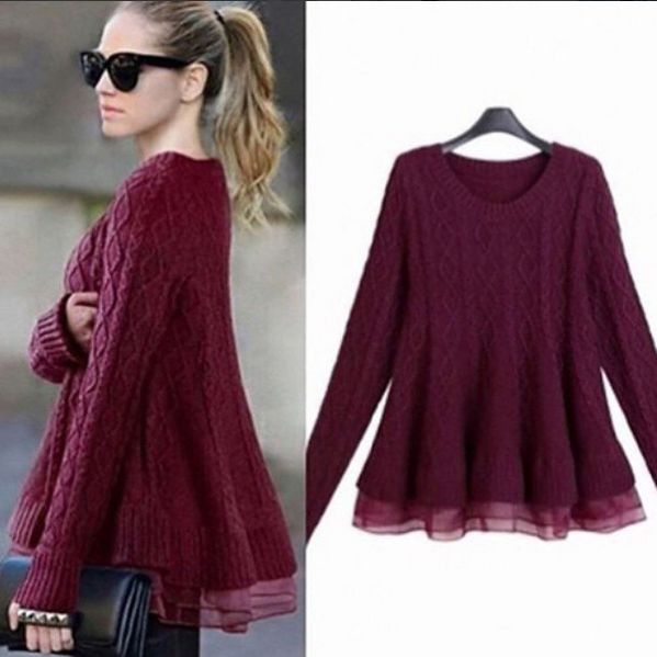 Discover shein's Sweater, soft cable knit with a peplum hem detail. fitting design and burgundy color is both cute and classic. View our fall women's clothing collection. 40% Off Your 1st Order! Free Shipping with 100% Quality Guarantee!