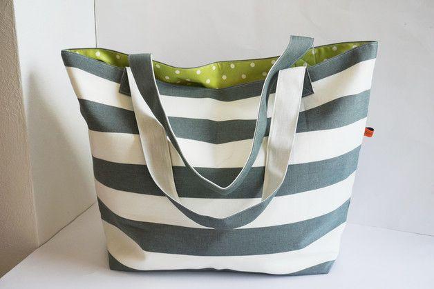 XL Badetasche * Wachstuch * Shopper * grau/grün