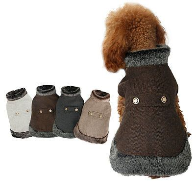 7.5 small Dog Winter Warm Coat Wool Jacket Puppy Clothes Pet Clothing Cat Apparel Costume
