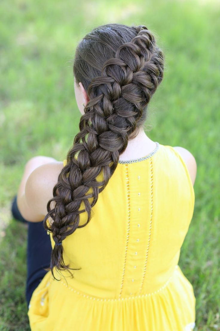 Diagonal French loop braid. I can't wait to try this one! Looks like it will hold up better than the bow braid.