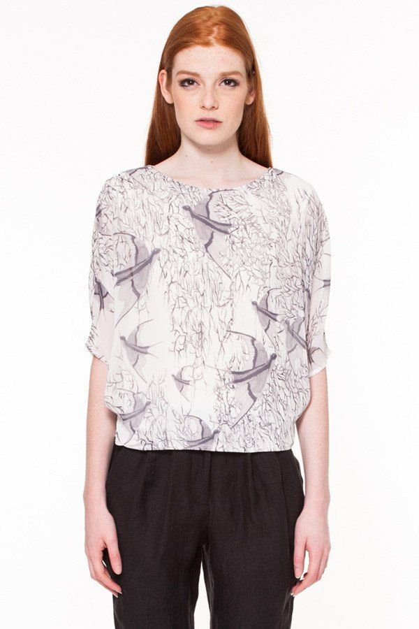 Ellwood Top by Canadian fashion designer Valerie Dumaine. Bird printed chiffon top with pleats on sides. Responsible fashion from Montreal, Canada.