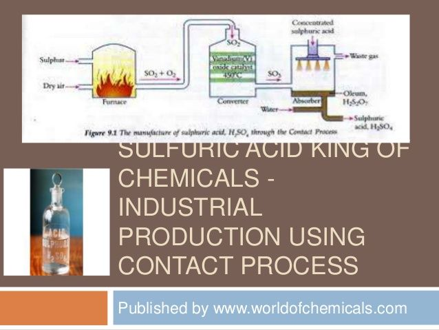 Sulfuric acid king of chemicals   industrial production using contact process by http://www.worldofchemicals.com/425/chemistry-articles/sulfuric-acid-oil-of-vitriol-king-of-chemicals-industrial-production.html